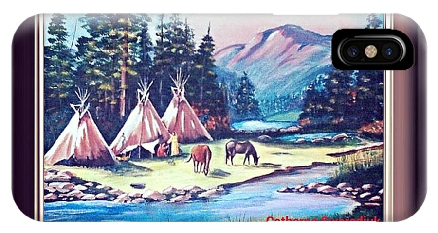Native Americans. Tipis IPhone X Case featuring the painting River Camp by Catherine Swerediuk