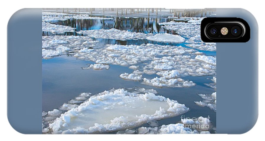 Ice IPhone X Case featuring the photograph River Ice by Ann Horn
