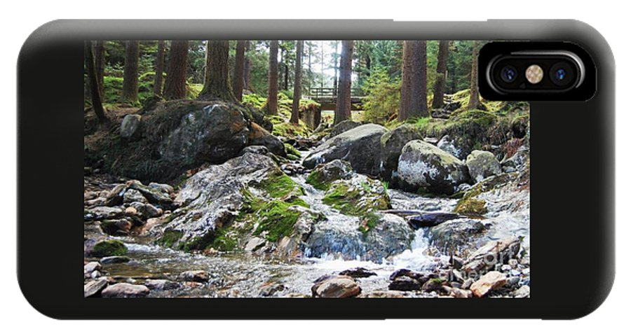 Ireland Art River Woodland Outdoors Rocks Travel Stock Shot Rural Wicklow Countryside Sylvan Setting IPhone X Case featuring the photograph A River Scene In Wicklow, Ireland by Courtney Dagan