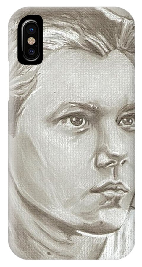 River Phoenix IPhone X Case featuring the drawing River Phoenix Drawing by Robert Crandall
