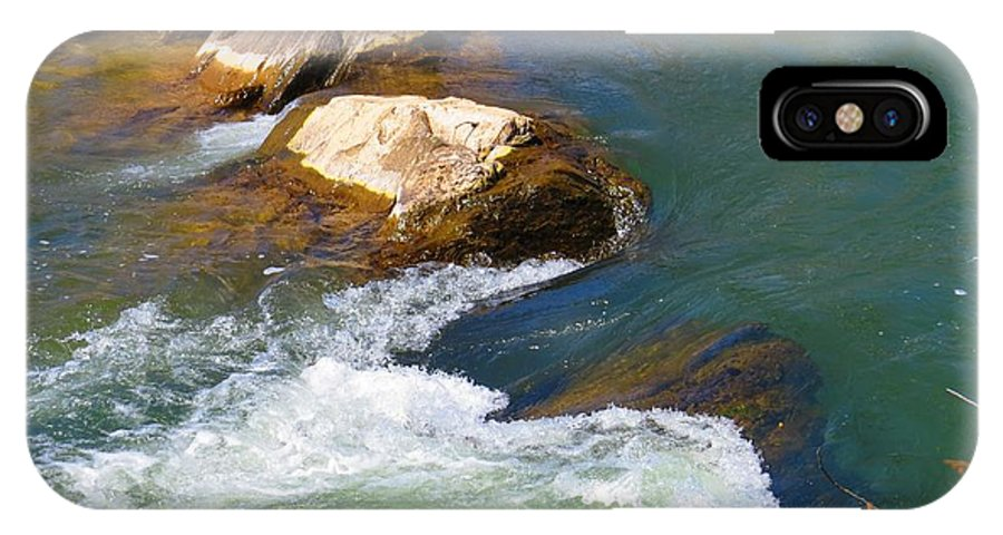 Great Falls IPhone X Case featuring the photograph River Rocks by Rrrose Pix