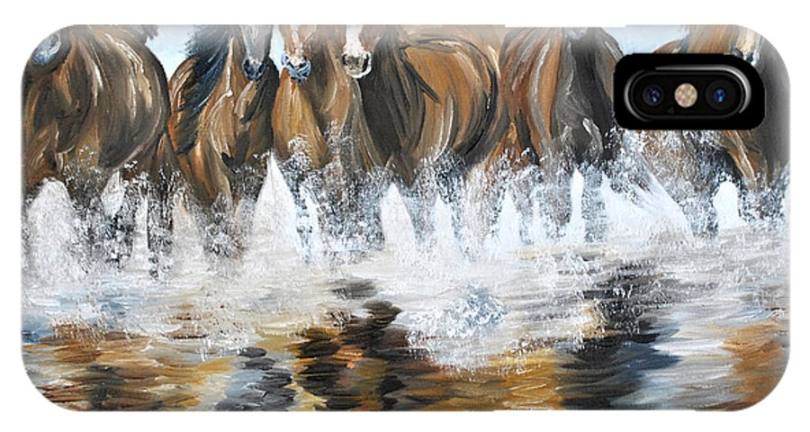 Horses IPhone X / XS Case featuring the painting River Stampede by Michael Lee