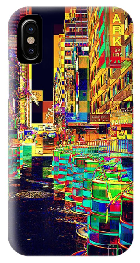 Abstract IPhone X Case featuring the photograph Roadblocks by Miriam Danar