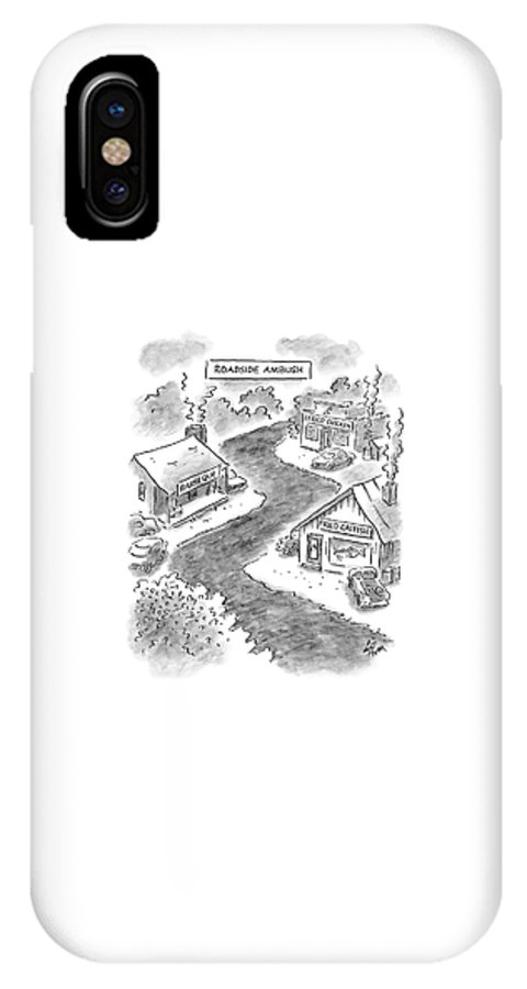 Food Low Cuisine Dining Diet   (roadside Restaurants With Signs Reading IPhone X Case featuring the drawing Roadside Ambush by Frank Cotham
