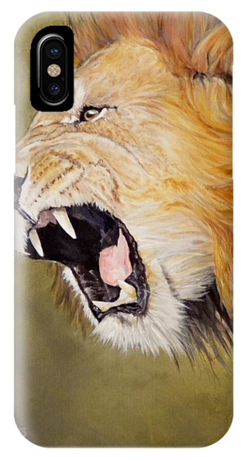 Africa IPhone X Case featuring the painting Roar by Barry BLAKE