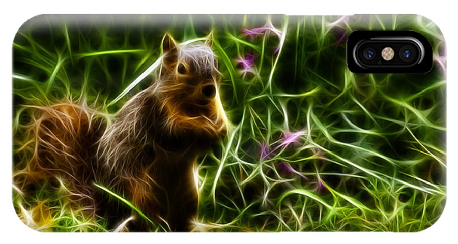 Rateitart IPhone X Case featuring the digital art Robbie The Squirrel -0146 - F by James Ahn