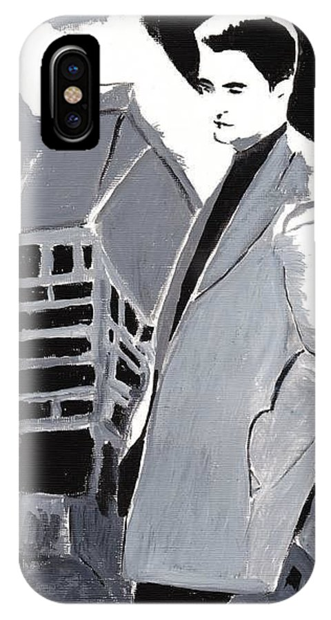 Robert Pattinson Black And White Film Actor Famous People Silhouette IPhone X Case featuring the painting Robert Pattinson 129 by Audrey Pollitt