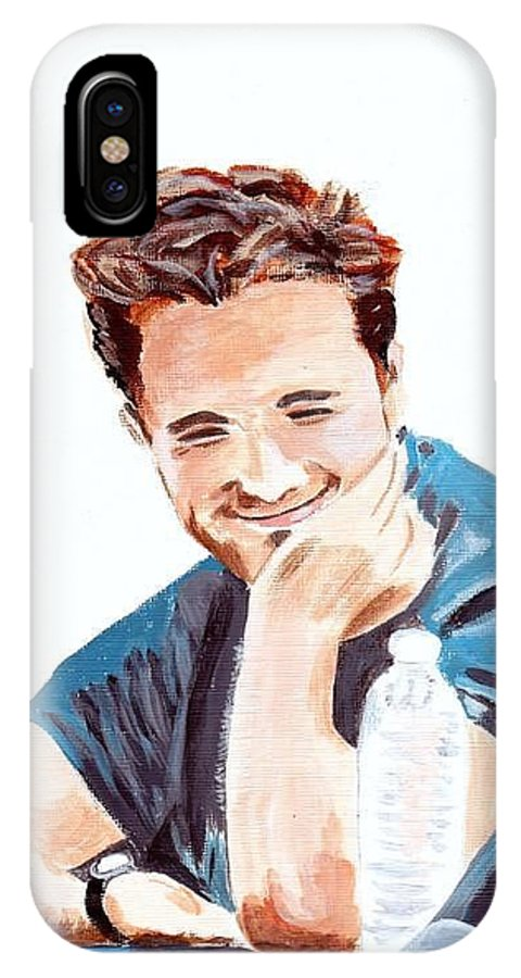 Robert Pattinson Famous Faces Film Star Actor People IPhone X Case featuring the painting Robert Pattinson 130 by Audrey Pollitt