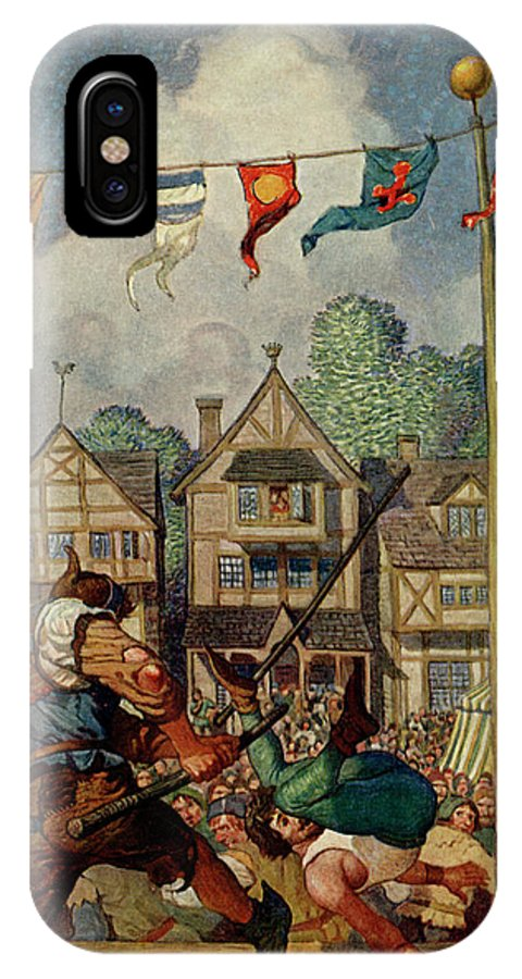 Little IPhone X Case featuring the drawing Robin Defeats Nat Of Nottingham by Mary Evans Picture Library