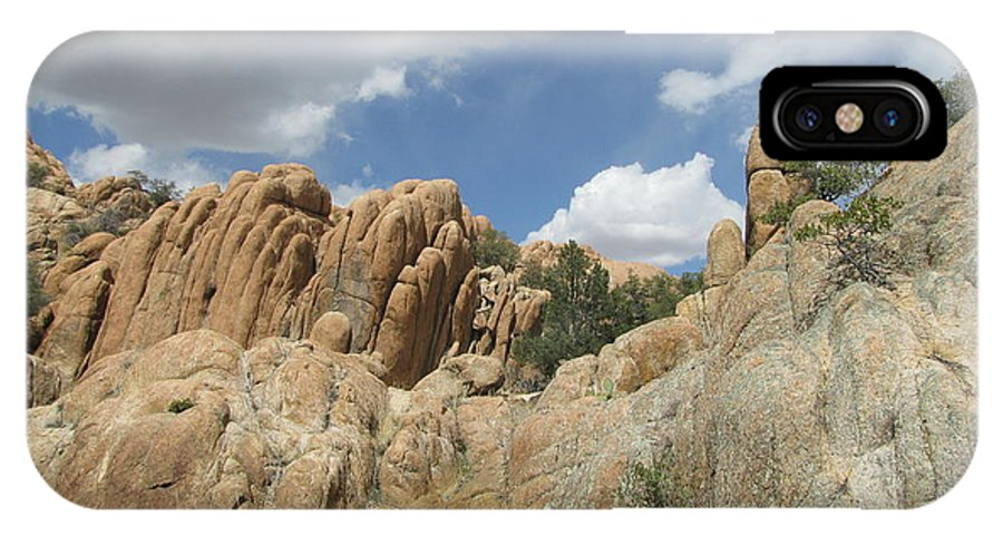 Mountain Rock Cloud Landscapes IPhone X Case featuring the photograph Rock Formations by Susan Ince