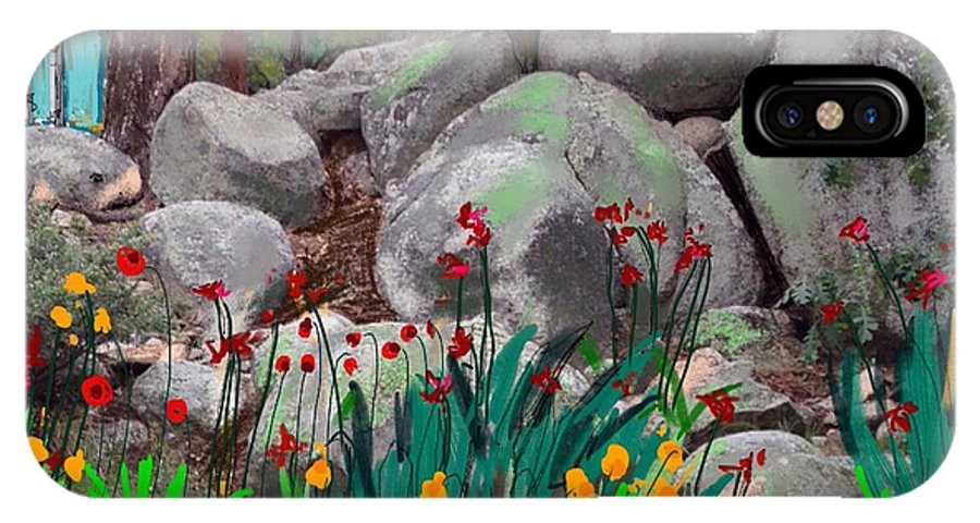 Rock Garden IPhone X Case featuring the painting Rock Garden by Craig Nelson