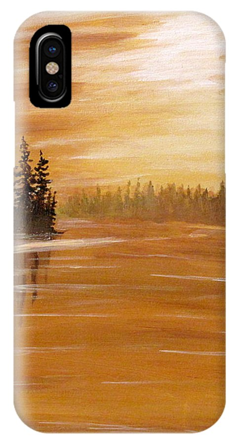 Northern Ontario IPhone X / XS Case featuring the painting Rock Lake Morning 1 by Ian MacDonald