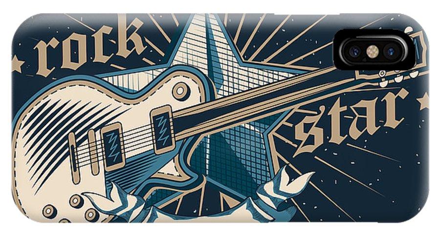 Symbol IPhone X Case featuring the digital art Rock Star Emblem by Alex bond