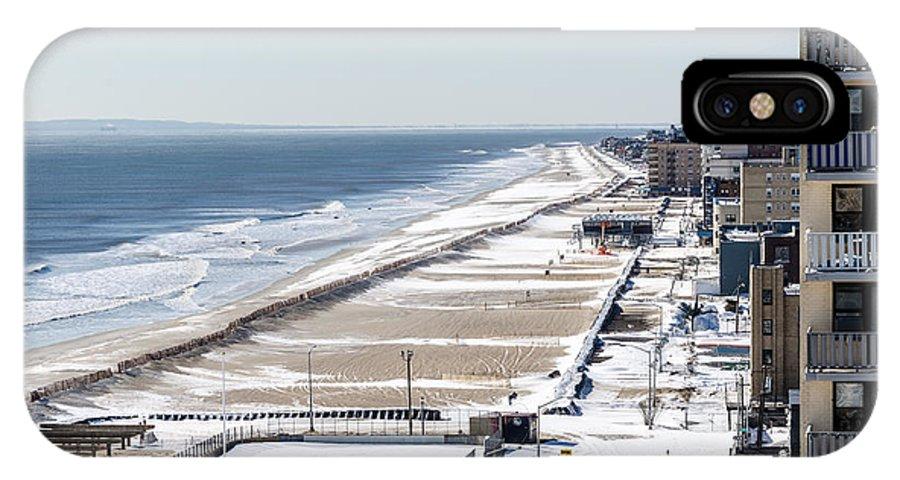 Frozen Ocean IPhone X Case featuring the photograph Rockaway Beach During Arctic Vortex by Maureen E Ritter