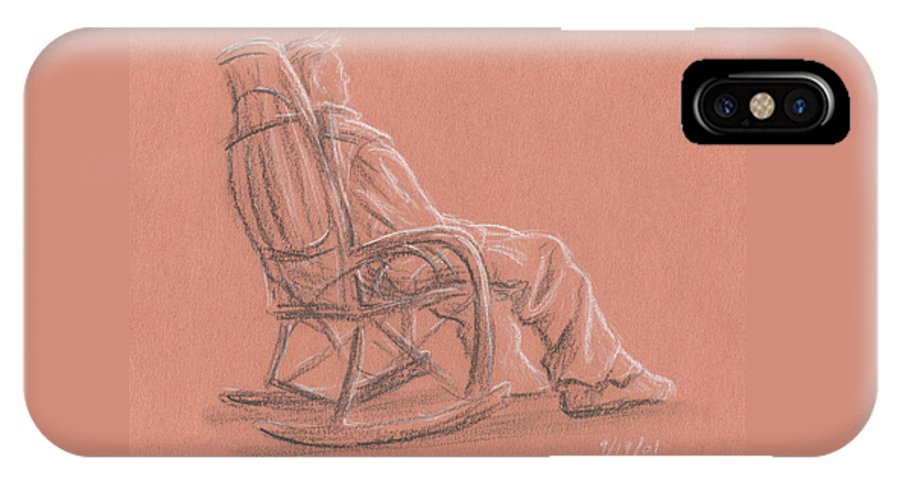 Figure IPhone X Case featuring the drawing Rocking Chair by Jeffrey Oleniacz