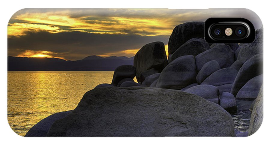 Lake IPhone X Case featuring the photograph Rocks At Sunset Tahoe by Allen Hrenyk