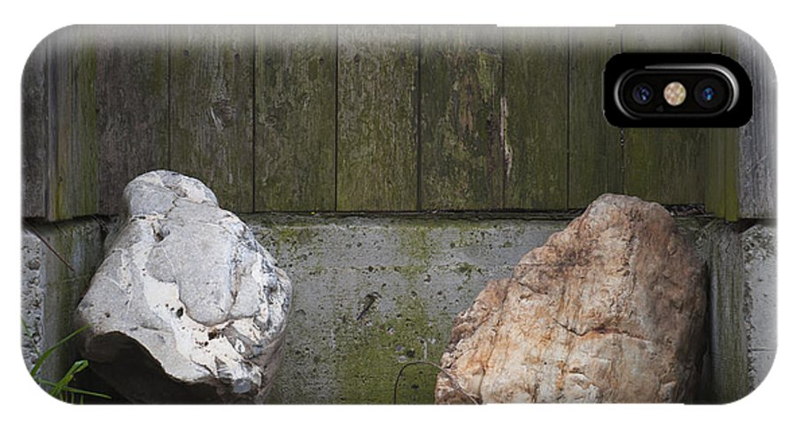 Rocks IPhone X Case featuring the photograph Rocks Near A Wooden Fence by Vlad Baciu