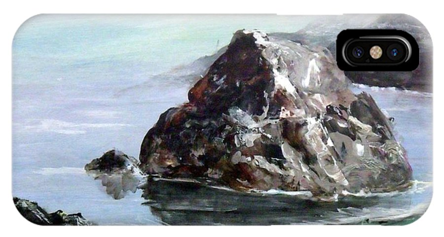 Seascape IPhone X Case featuring the painting Rocky Beach by Lynne Parker