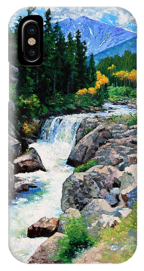 Rocky Mountains IPhone X Case featuring the painting Rocky Mountain High by John Lautermilch