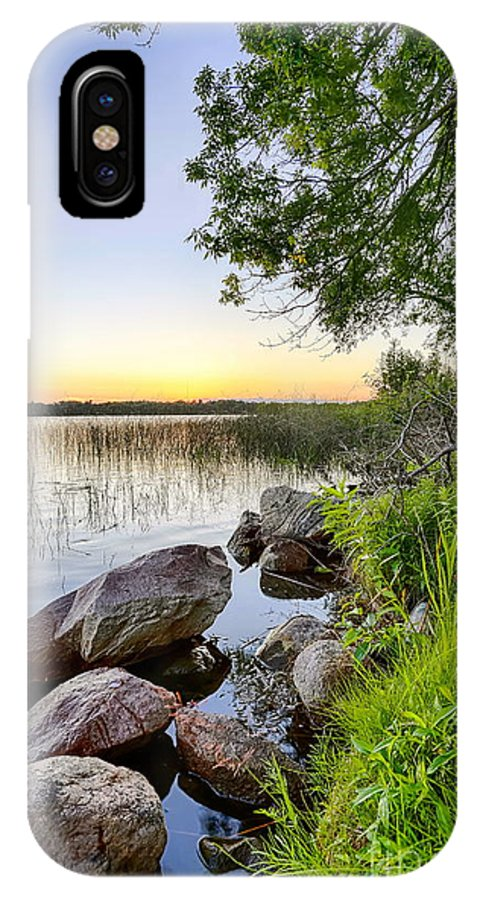 Dock IPhone X Case featuring the photograph Rocky Shore by Bryan Benson