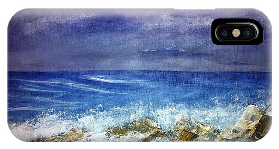 Seascape IPhone X Case featuring the painting Rocky Shore by Wanda Lane
