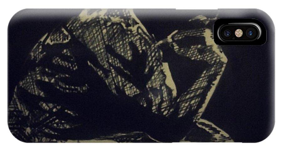 Indian Ink IPhone X Case featuring the drawing Rodin by Mustafa ZUMRUTTAS