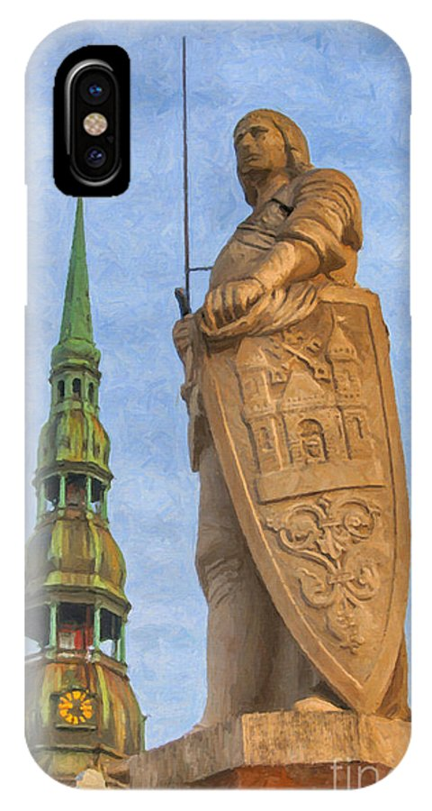 Latvia IPhone X Case featuring the painting Roland Of Riga Painting by Antony McAulay