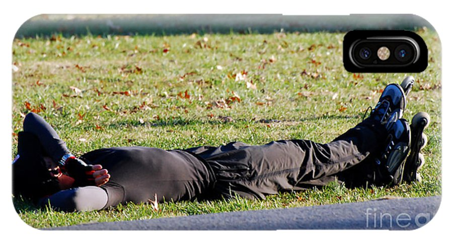 Roller Blade IPhone X Case featuring the photograph Rollerblader At Rest by Francine Hall