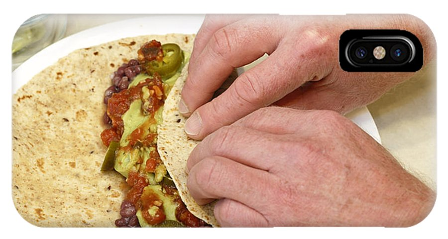 Food IPhone X Case featuring the photograph Rolling A Vegetarian Wrap by Lee Serenethos