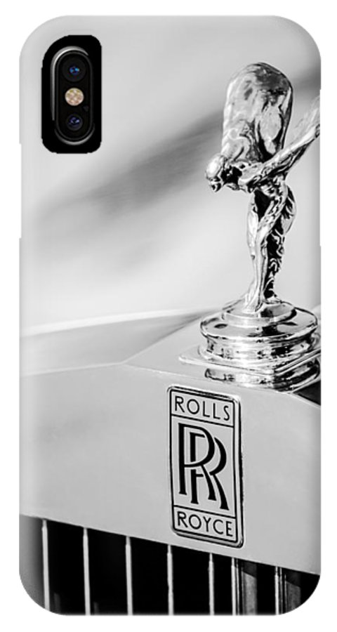 Rolls-royce Hood Ornament IPhone X Case featuring the photograph Rolls-Royce Hood Ornament -782bw by Jill Reger