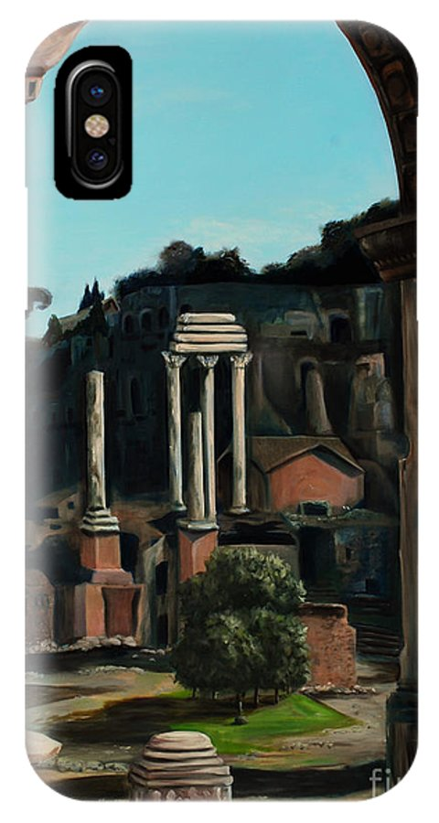 Rome IPhone X Case featuring the painting Roman Forum by Nancy Bradley