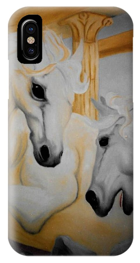 Horses IPhone X Case featuring the painting Roman Ponies by Patrick Trotter