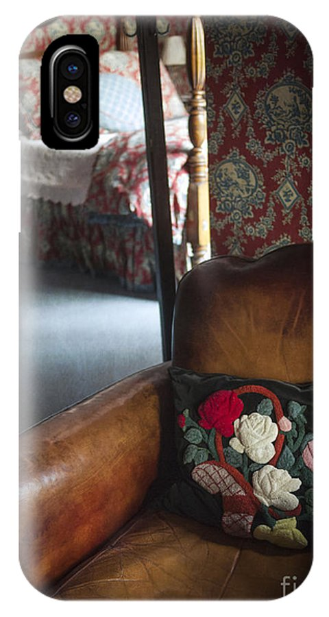Leather IPhone X Case featuring the photograph Romantic Bedroom Interior by Edward Fielding