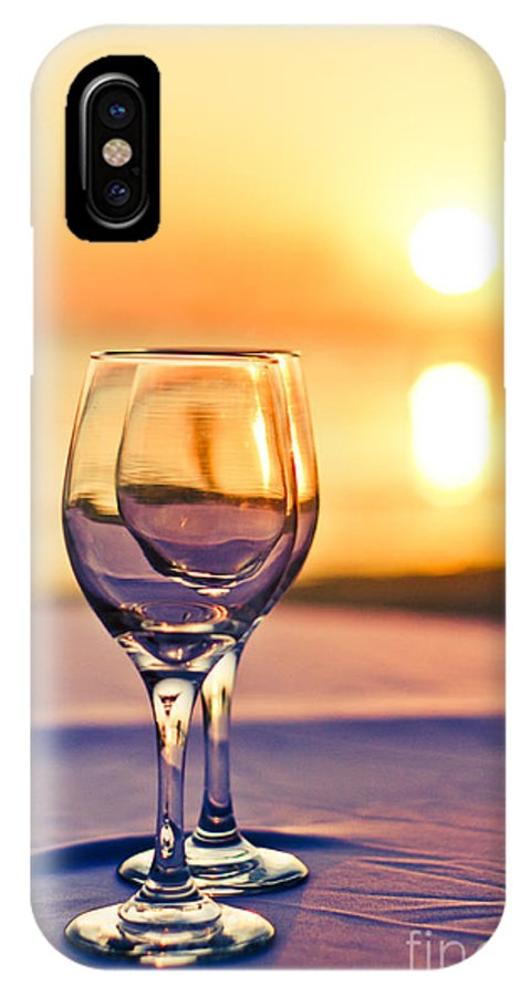 Wine IPhone X Case featuring the photograph Romantic Sunset Drink With Wine Glass by Tuimages