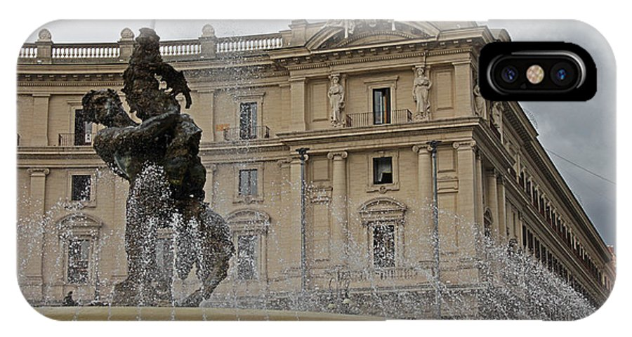 Rome IPhone X Case featuring the photograph Rome Italy Fountain Naiads by Joseph Semary