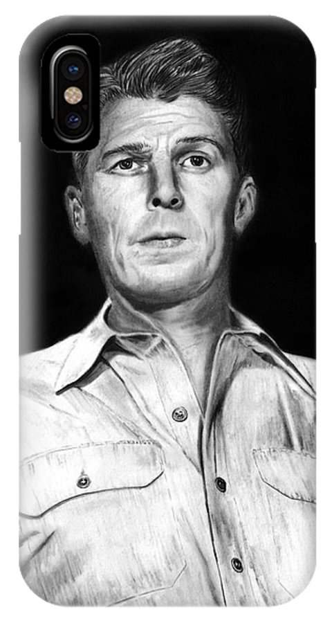 Ronald Regan IPhone X Case featuring the drawing Ronald Regan by Peter Piatt