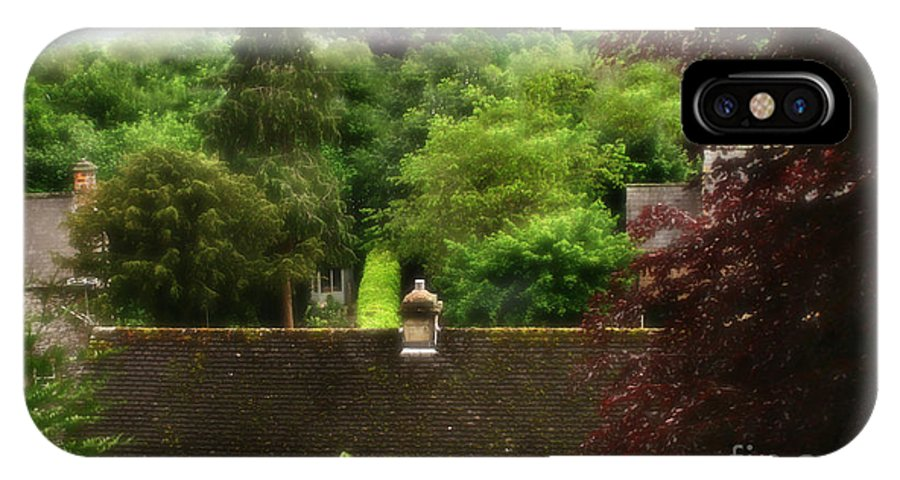 Garden IPhone X / XS Case featuring the photograph Roof Tops In Countryside Scenery With Trees - Peak District - England by Doc Braham
