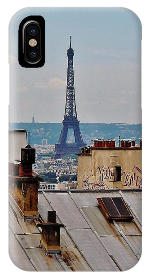 Paris IPhone X Case featuring the photograph Rooftops Of Paris And Eiffel Tower by Marilyn Dunlap