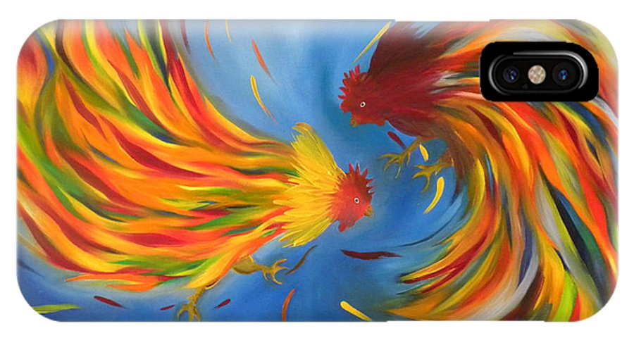 Fight IPhone Case featuring the painting Rooster Fight by Fanny Diaz