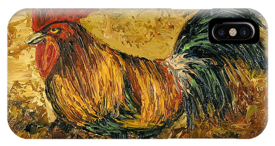Rooster IPhone Case featuring the painting Rooster With Attitude by Darice Machel McGuire