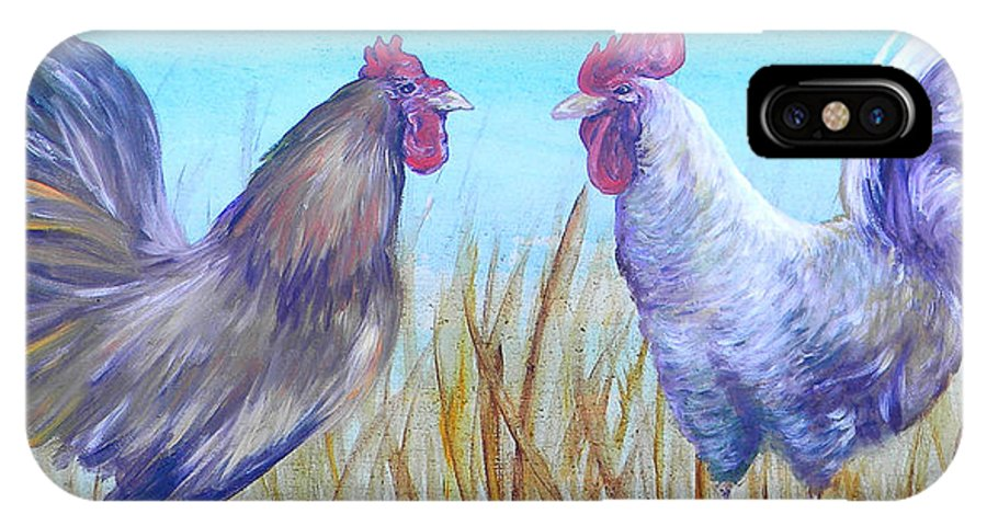 Chicken IPhone X Case featuring the painting Roosters by Judy Bruning