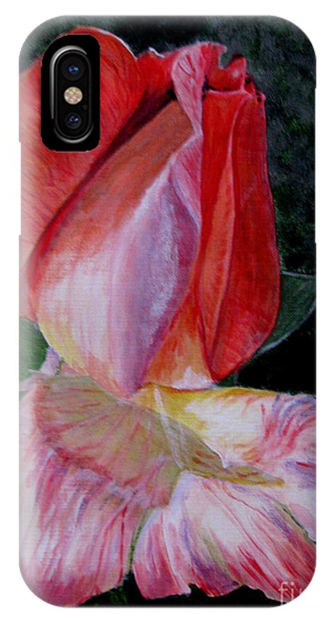 Rose IPhone X Case featuring the painting Rose Bud by Nancie Johnson