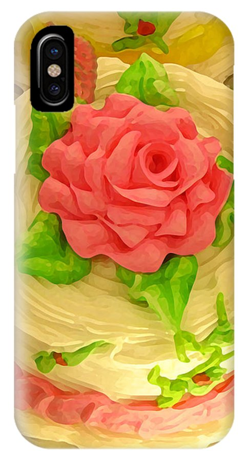 Food IPhone X Case featuring the painting Rose Cakes by Amy Vangsgard