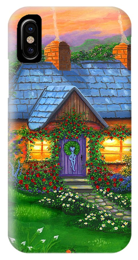 Cottage IPhone X Case featuring the painting Rose Cottage by Bonnie Cook