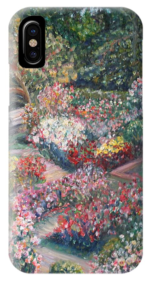 Impressionist Landscape IPhone X Case featuring the painting Rose Garden by Quin Sweetman