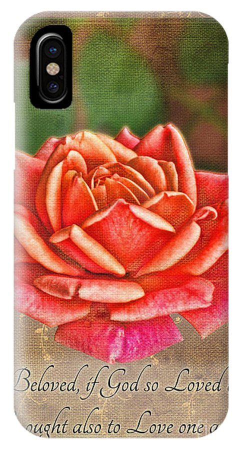 Nature IPhone X Case featuring the photograph Rose Greeting Card With Verse by Debbie Portwood
