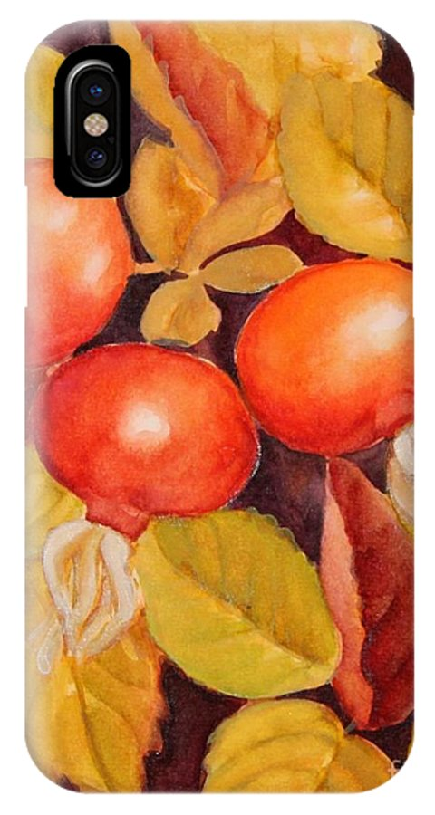 Wild Rose IPhone X Case featuring the painting Rose Hips by Inese Poga