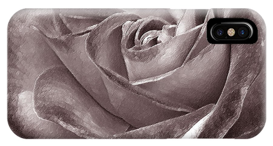 Rose IPhone X Case featuring the photograph Rose In Black And White by Ben and Raisa Gertsberg