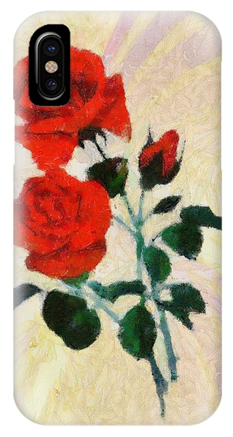 Beautiful IPhone X Case featuring the painting Rose by Kvetoslava Stikovcova
