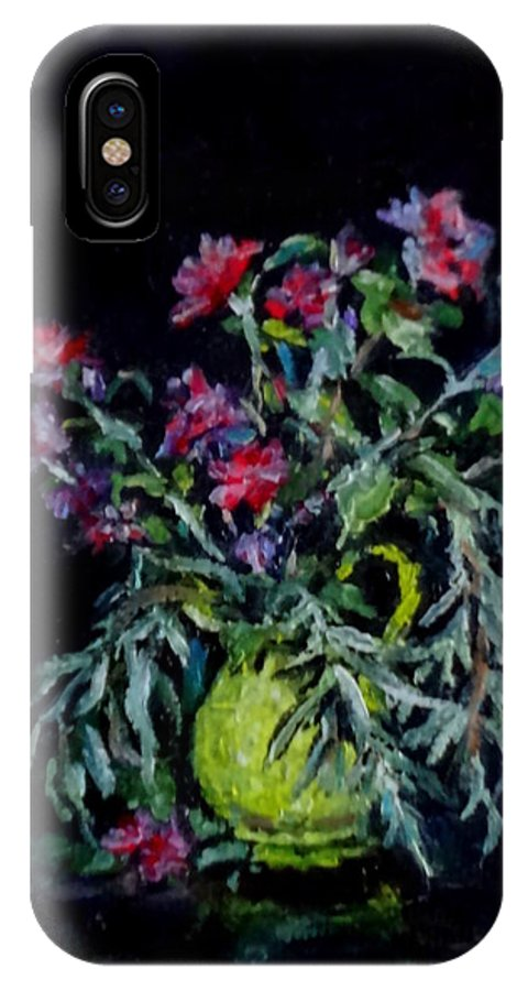 Mini Paintings IPhone X Case featuring the painting Rose Of Sharon by Jennifer Calhoun